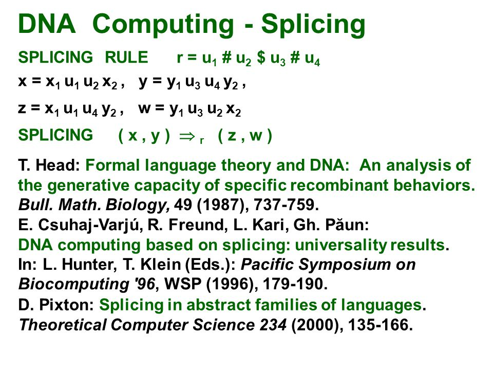 DNA Computing - Splicing
