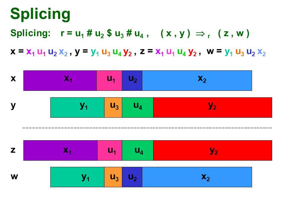 Splicing Splicing: r = u1 # u2 $ u3 # u4 , ( x , y )  r ( z , w )