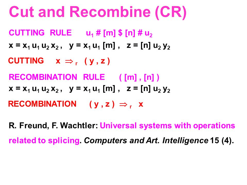 Cut and Recombine (CR) CUTTING RULE u1 # [m] $ [n] # u2