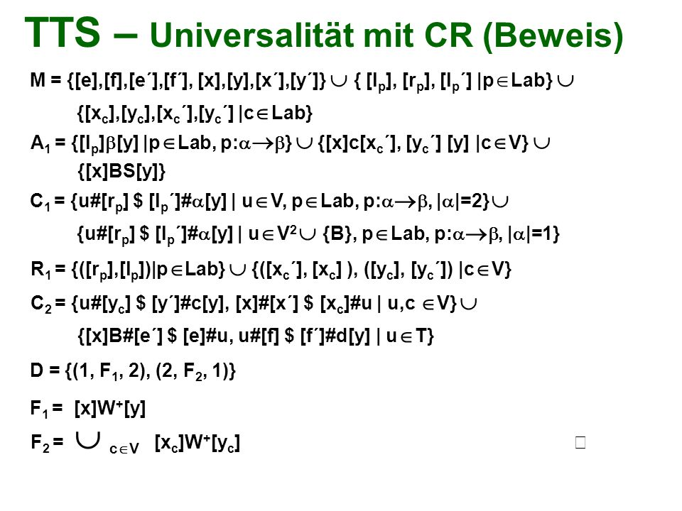 TTS – Universalität mit CR (Beweis)