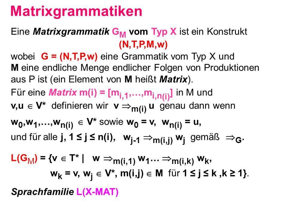 Matrixgrammatiken Eine Matrixgrammatik GM vom Typ X ist ein Konstrukt