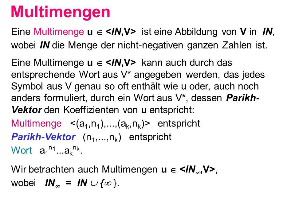 Multimengen Eine Multimenge u  <IN,V> ist eine Abbildung von V in IN, wobei IN die Menge der nicht-negativen ganzen Zahlen ist.