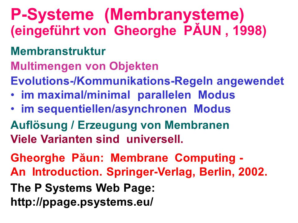 P-Systeme (Membranysteme)