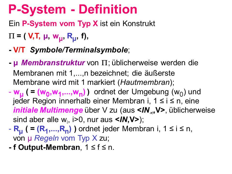 P-System - Definition Ein P-System vom Typ X ist ein Konstrukt