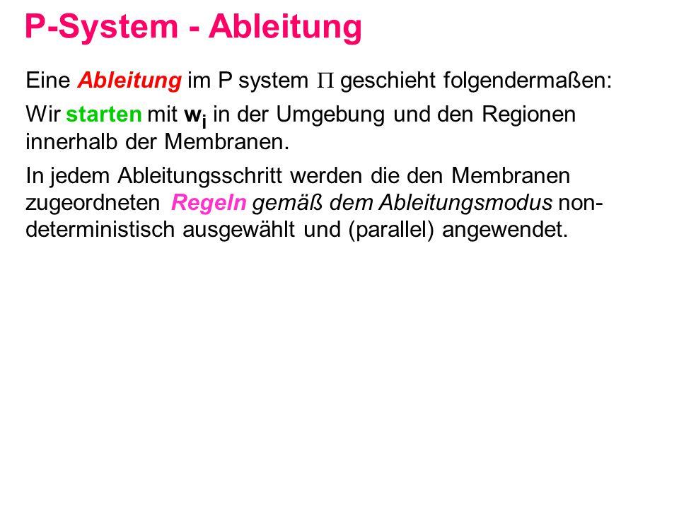 P-System - Ableitung Eine Ableitung im P system  geschieht folgendermaßen: