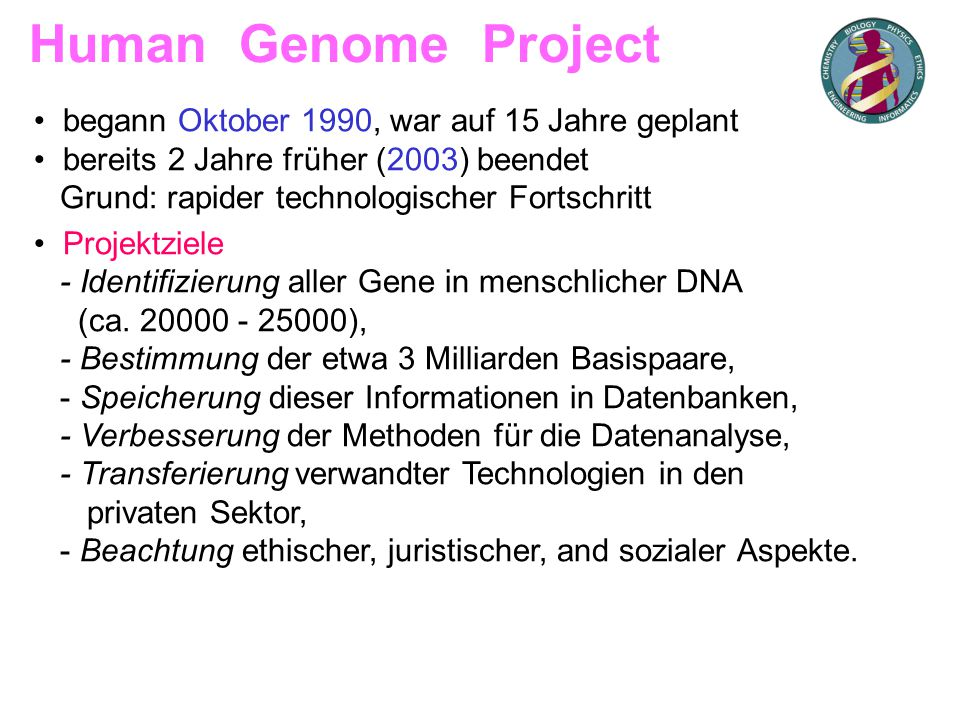 Human Genome Project begann Oktober 1990, war auf 15 Jahre geplant