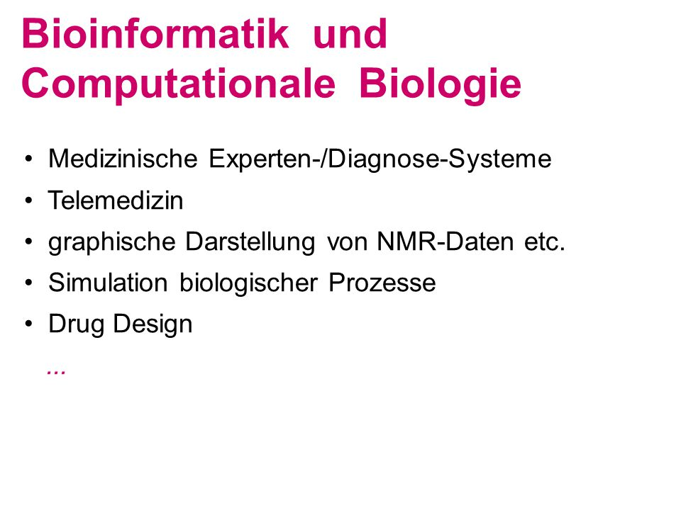 Bioinformatik und Computationale Biologie
