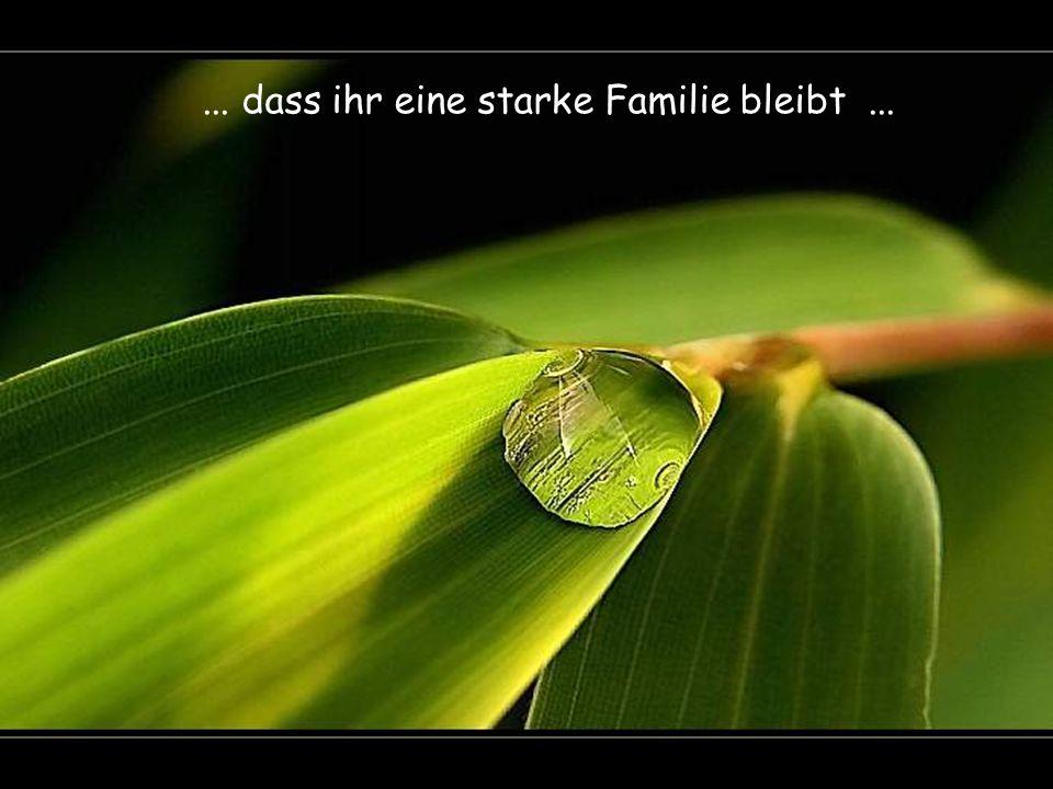 ... dass ihr eine starke Familie bleibt ...