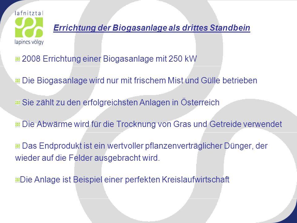Errichtung der Biogasanlage als drittes Standbein