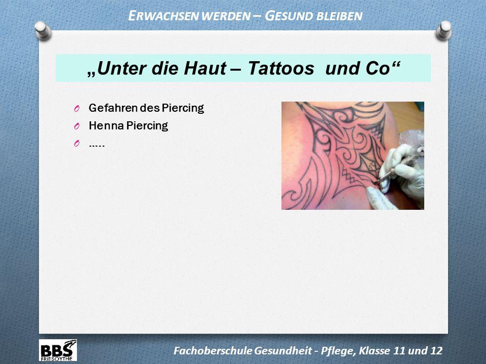 """Erwachsen werden – Gesund bleiben """"Unter die Haut – Tattoos und Co"""