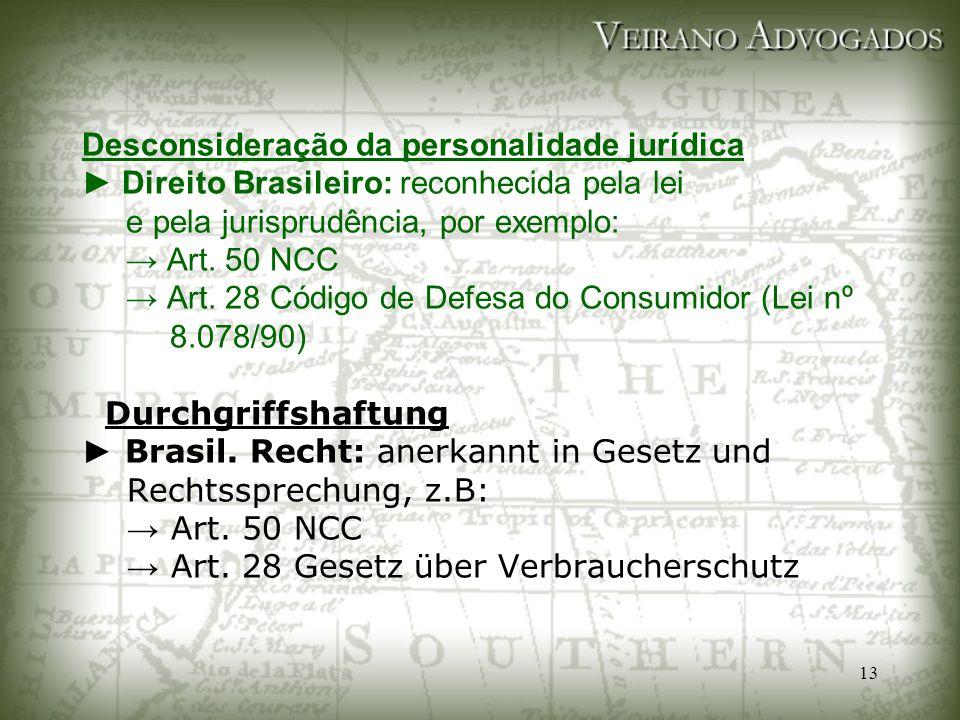 Desconsideração da personalidade jurídica ► Direito Brasileiro: reconhecida pela lei e pela jurisprudência, por exemplo: → Art.