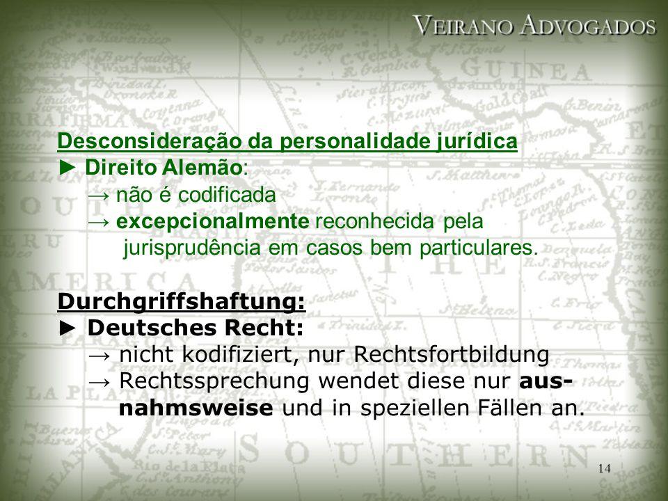 Desconsideração da personalidade jurídica ► Direito Alemão: → não é codificada → excepcionalmente reconhecida pela jurisprudência em casos bem particulares.