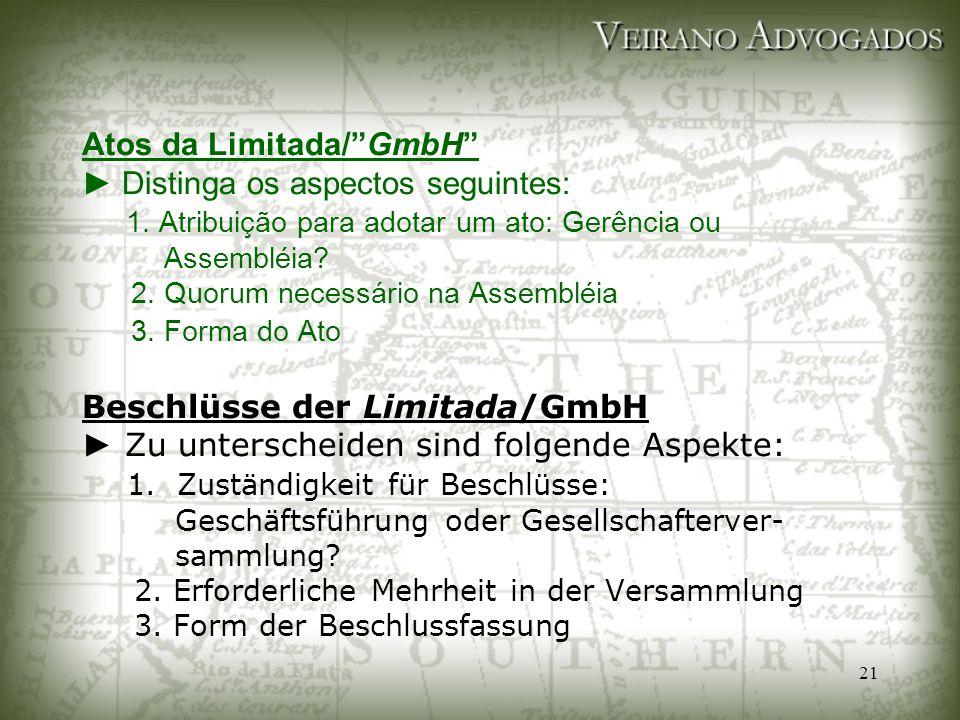 Atos da Limitada/ GmbH ► Distinga os aspectos seguintes: 1