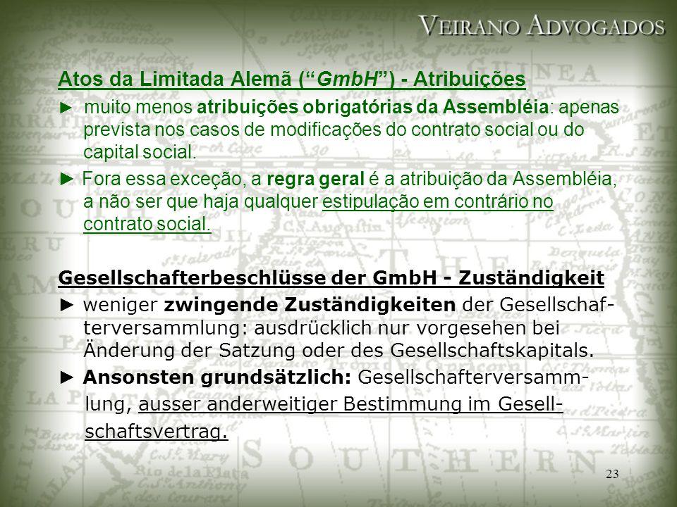 Atos da Limitada Alemã ( GmbH ) - Atribuições