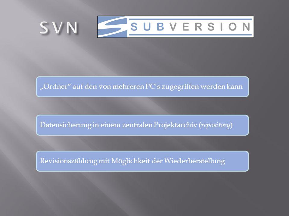 """SVN """"Ordner auf den von mehreren PC's zugegriffen werden kann"""