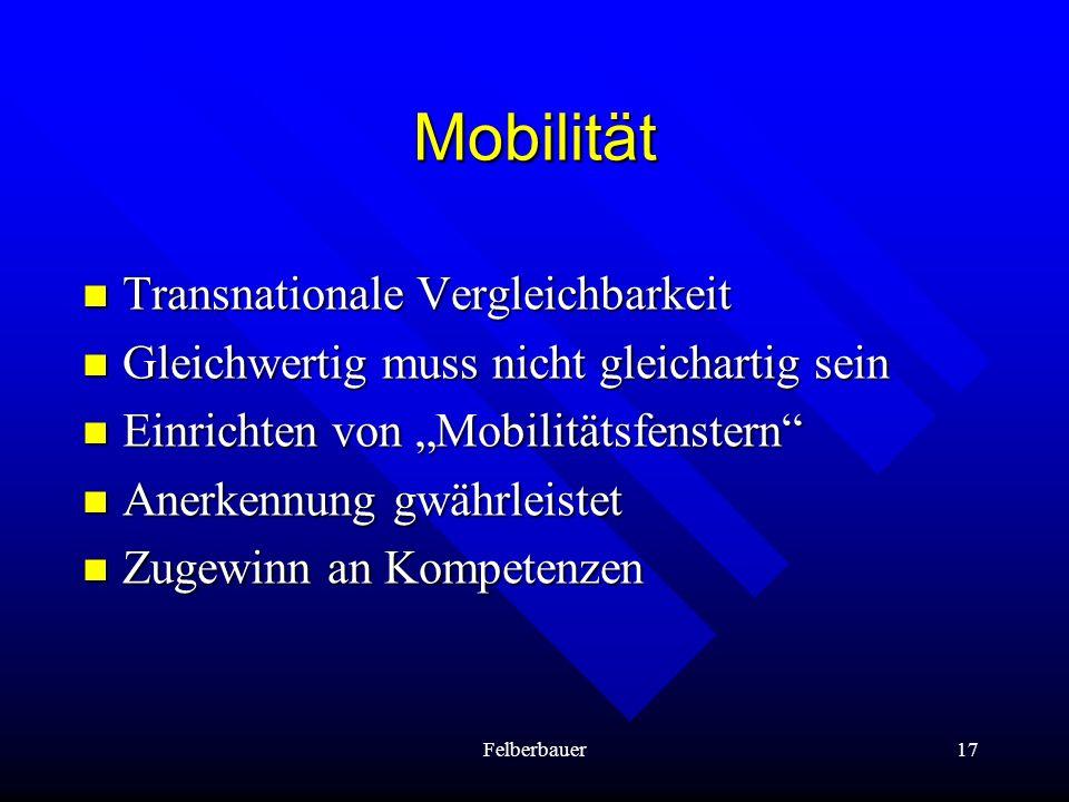 Mobilität Transnationale Vergleichbarkeit