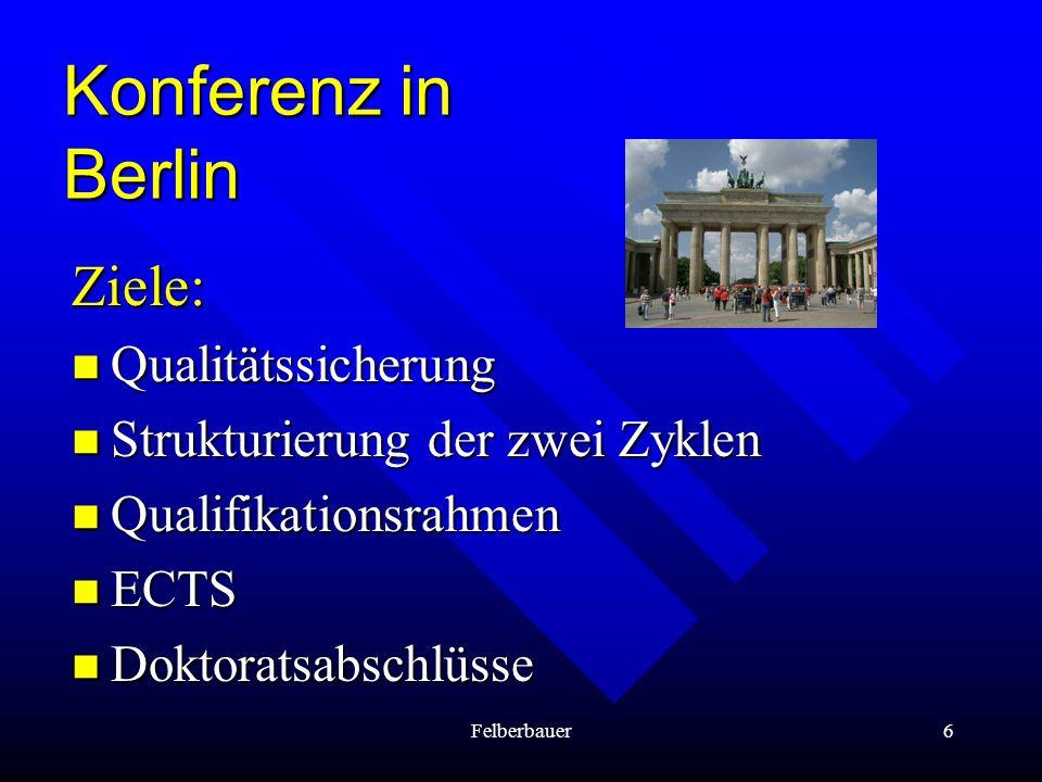 Konferenz in Berlin Ziele: Qualitätssicherung