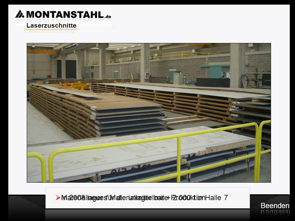 Laserzuschnitte In 2008 neues Materiallager mit + 2.000 t in Halle 7. Materiallager für die unmittelbare Produktion.