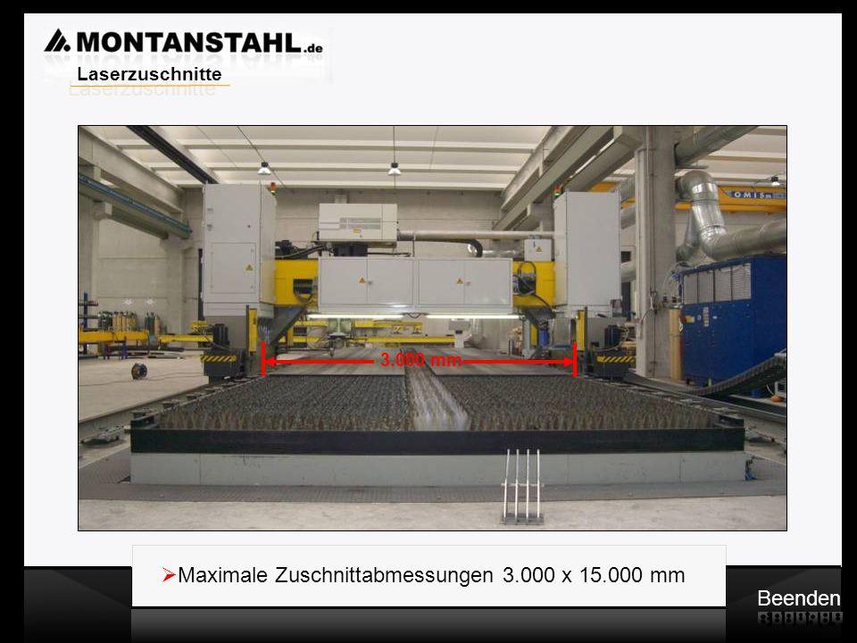 Maximale Zuschnittabmessungen 3.000 x 15.000 mm Beenden