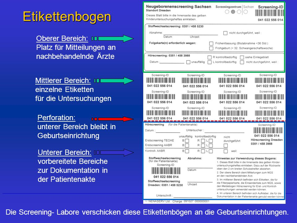 Etikettenbogen Oberer Bereich: Platz für Mitteilungen an nachbehandelnde Ärzte. Mittlerer Bereich: einzelne Etiketten für die Untersuchungen.