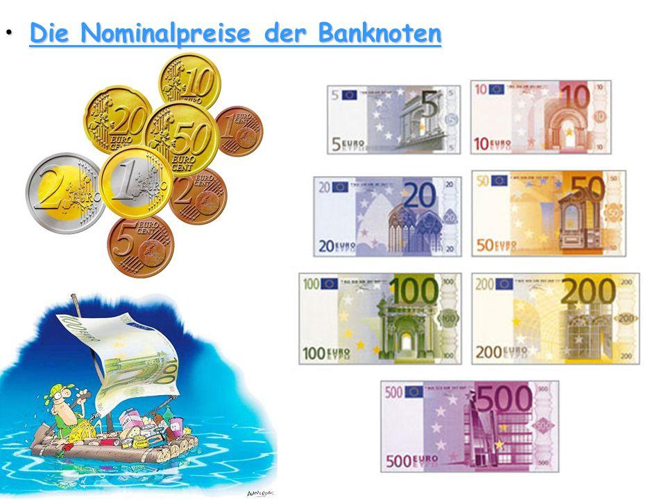 Die Nominalpreise der Banknoten