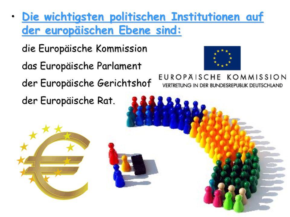 Die wichtigsten politischen Institutionen auf der europäischen Ebene sind: