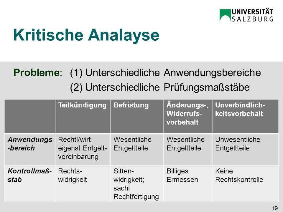Kritische Analayse Probleme: (1) Unterschiedliche Anwendungsbereiche
