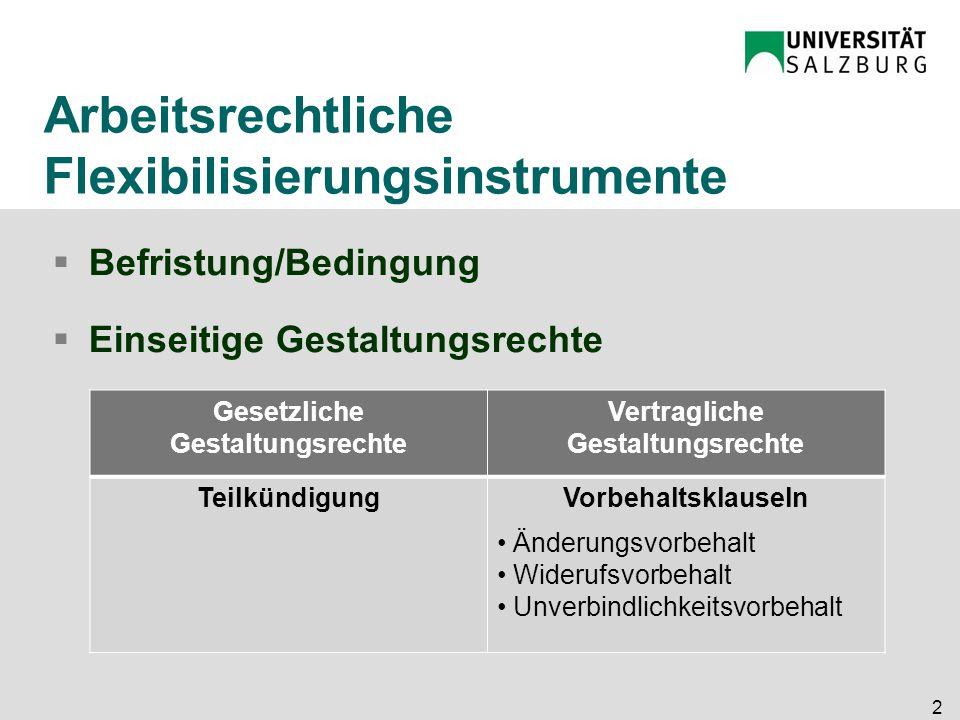 Arbeitsrechtliche Flexibilisierungsinstrumente