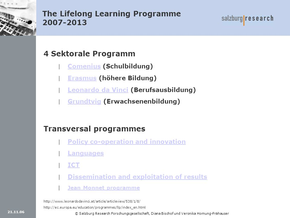 The Lifelong Learning Programme 2007-2013
