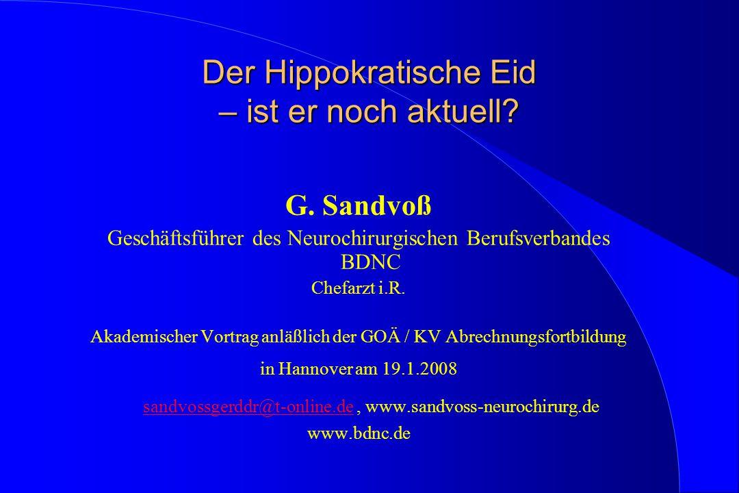 Der Hippokratische Eid – ist er noch aktuell