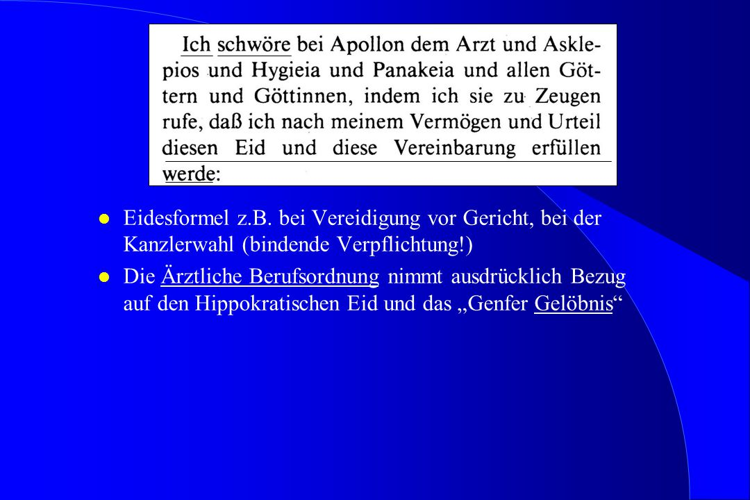 Eidesformel z.B. bei Vereidigung vor Gericht, bei der Kanzlerwahl (bindende Verpflichtung!)