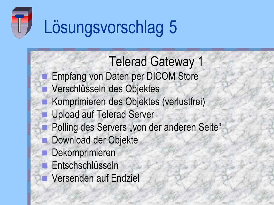 Lösungsvorschlag 5 Telerad Gateway 1 Empfang von Daten per DICOM Store