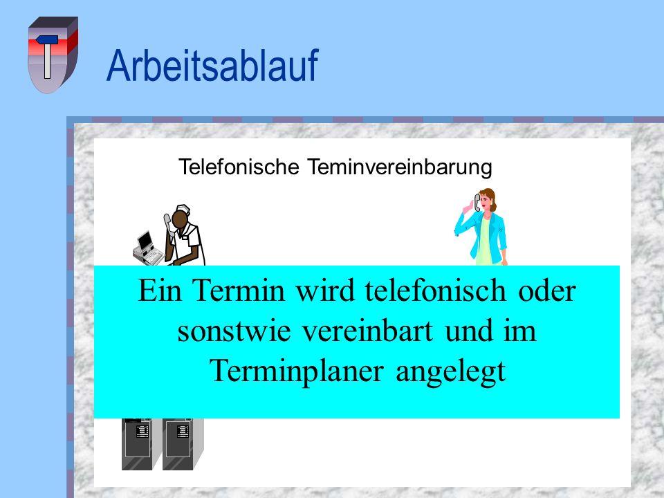 ArbeitsablaufTelefonische Teminvereinbarung. Ein Termin wird telefonisch oder sonstwie vereinbart und im Terminplaner angelegt.