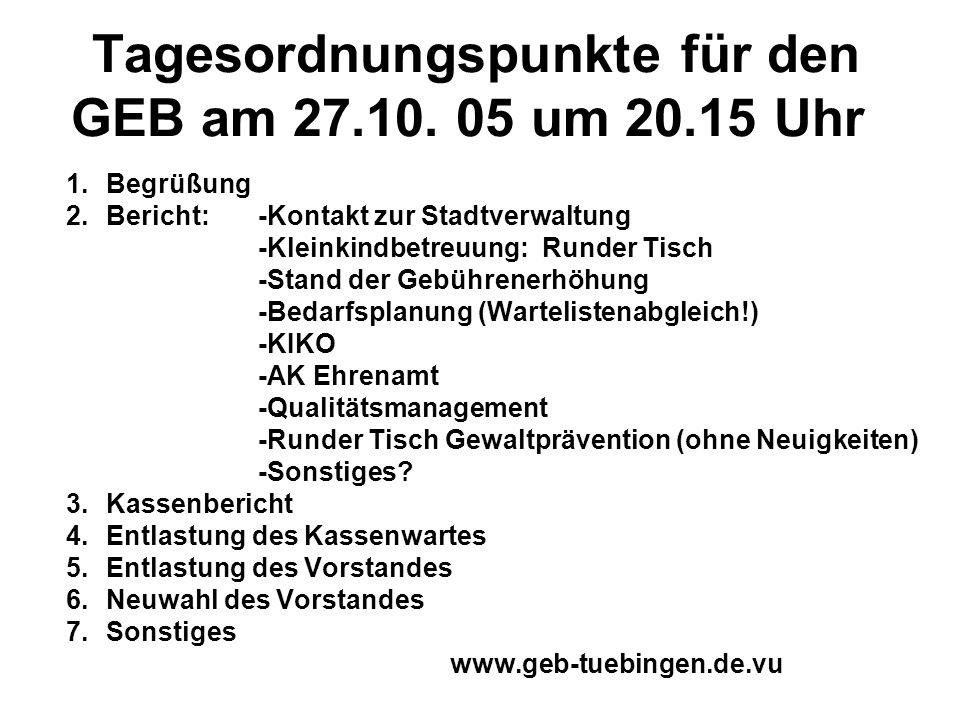 Tagesordnungspunkte für den GEB am 27.10. 05 um 20.15 Uhr