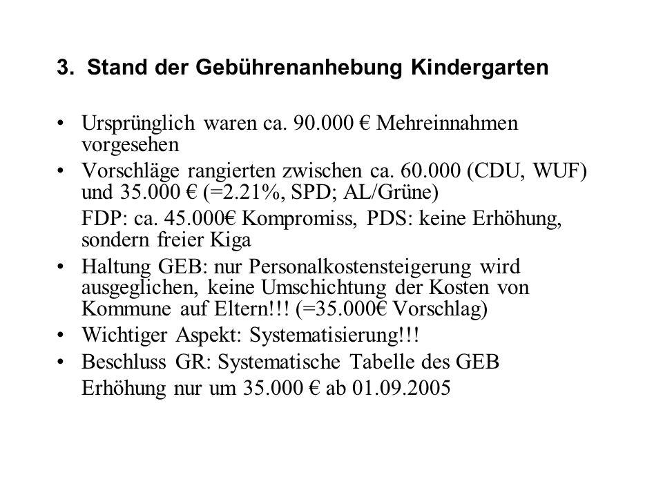 3. Stand der Gebührenanhebung Kindergarten