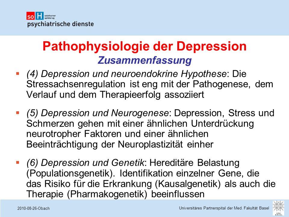 Pathophysiologie der Depression Zusammenfassung