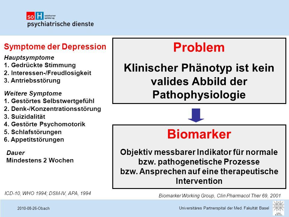 Problem Klinischer Phänotyp ist kein valides Abbild der Pathophysiologie. Symptome der Depression.