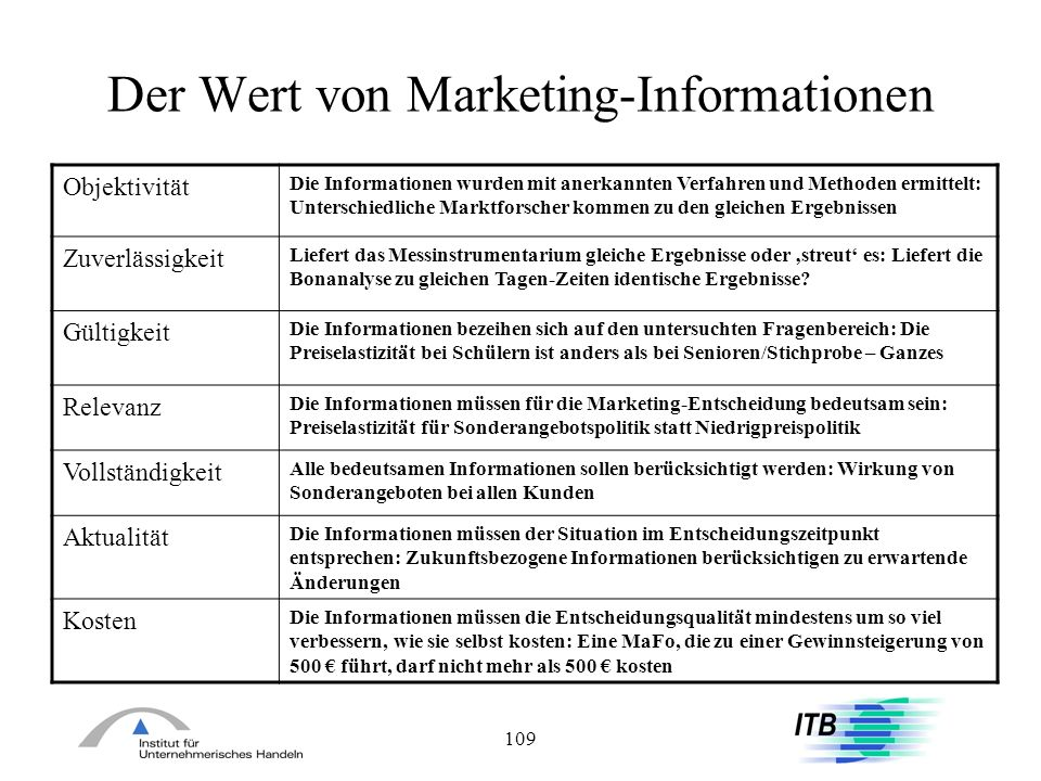 Der Wert von Marketing-Informationen