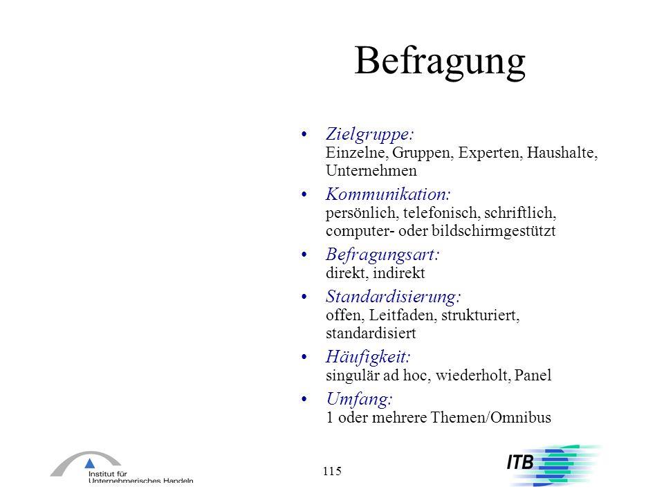 BefragungZielgruppe: Einzelne, Gruppen, Experten, Haushalte, Unternehmen.
