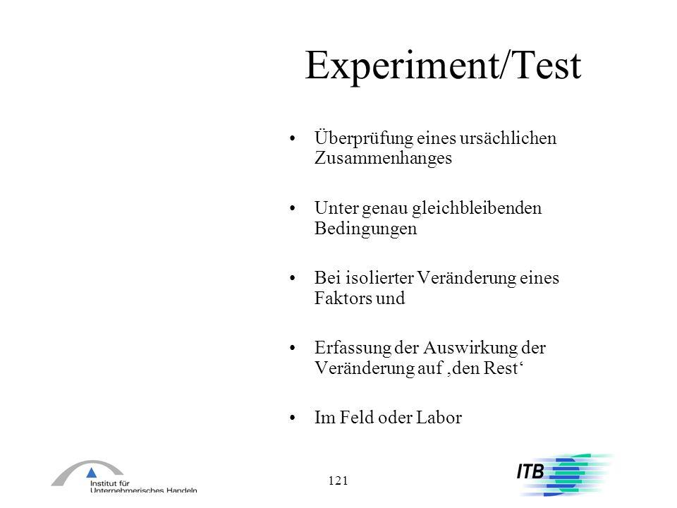 Experiment/Test Überprüfung eines ursächlichen Zusammenhanges