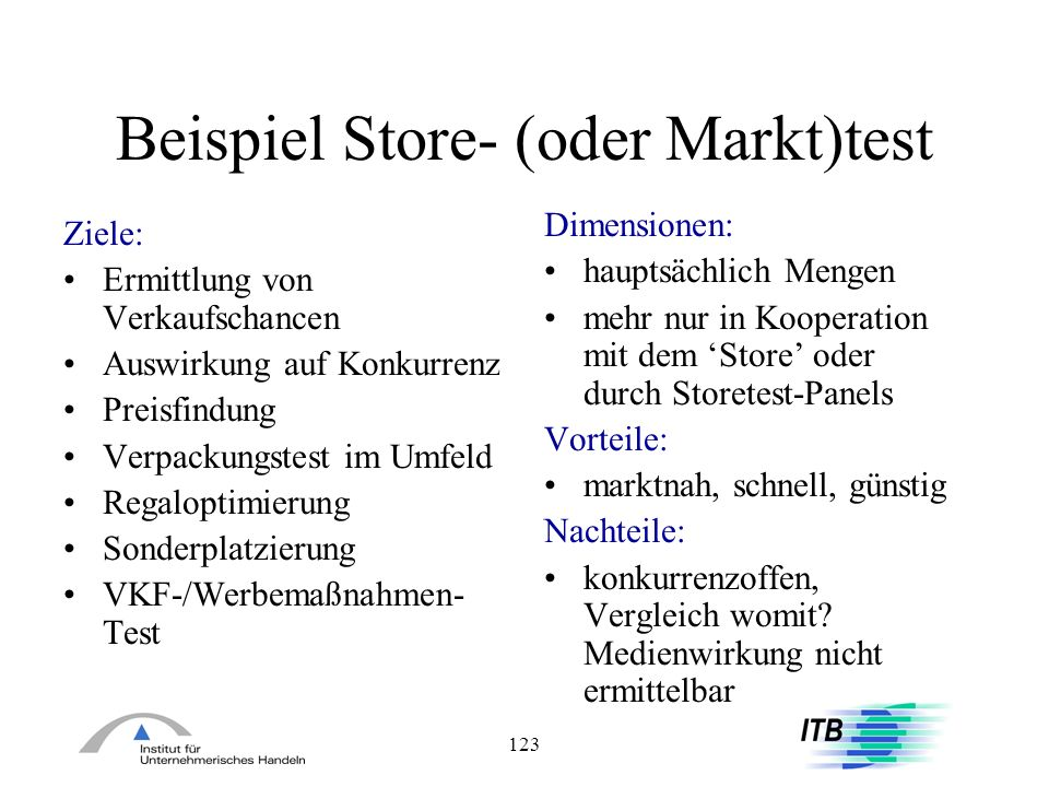 Beispiel Store- (oder Markt)test