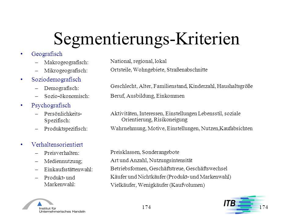 Segmentierungs-Kriterien