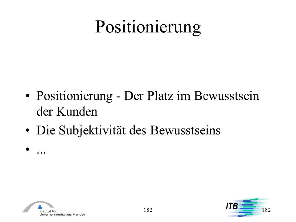 Positionierung Positionierung - Der Platz im Bewusstsein der Kunden