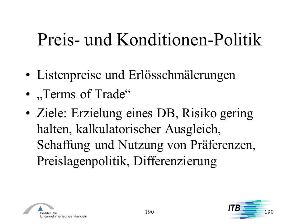 Preis- und Konditionen-Politik