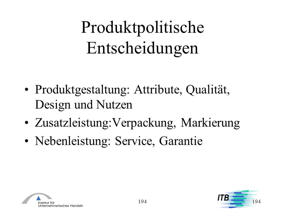 Produktpolitische Entscheidungen