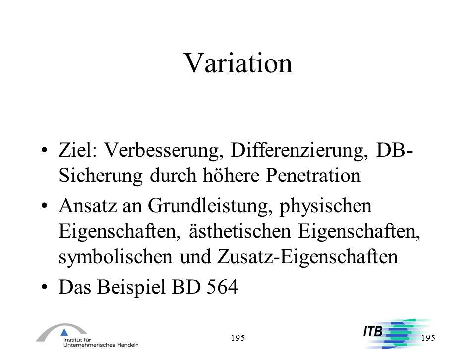 Variation Ziel: Verbesserung, Differenzierung, DB-Sicherung durch höhere Penetration.