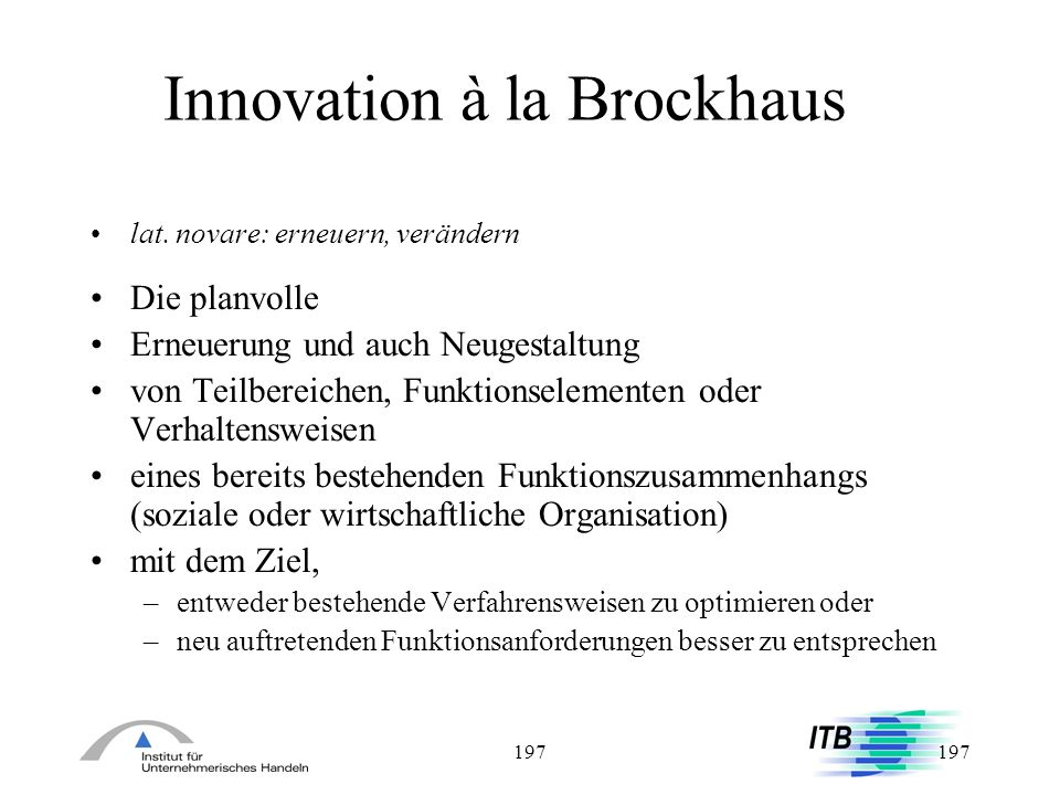 Innovation à la Brockhaus