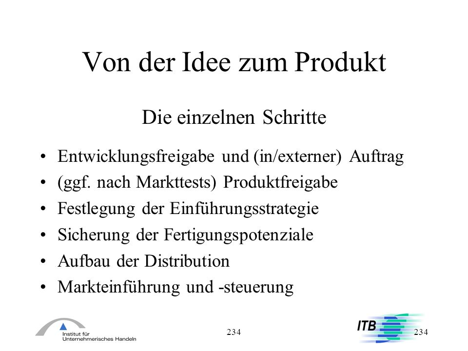 Von der Idee zum Produkt