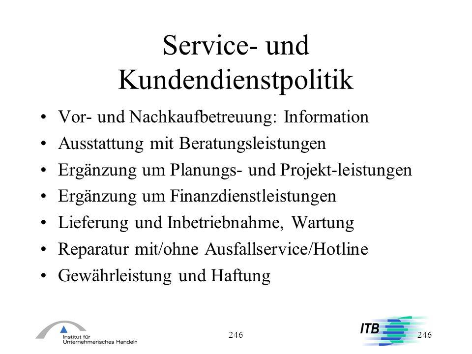 Service- und Kundendienstpolitik