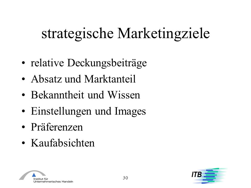 strategische Marketingziele